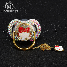 MIYOCAR colorful bling beautiful cat pacifier BPA free FDA pass safe and clip set unique gift