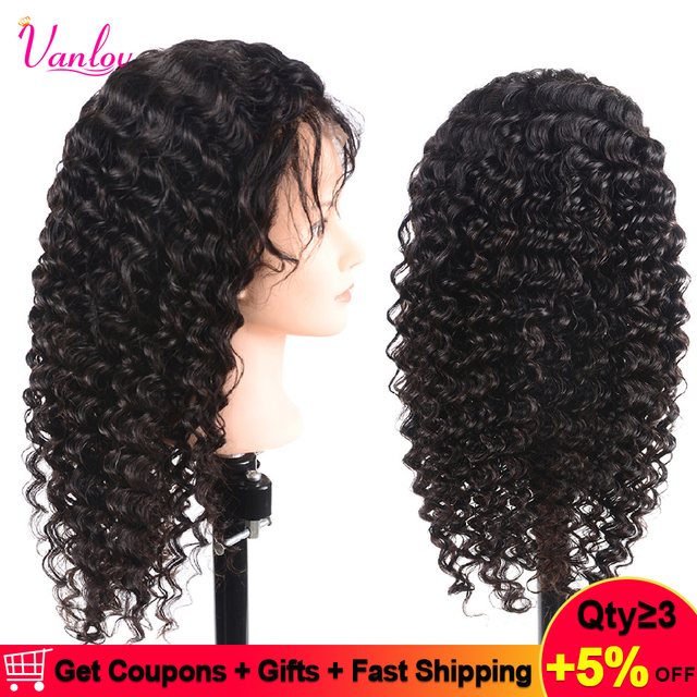 Vanlov Pre Plucked Brazilian Lace Front Human Hair Wigs For Women Remy Deep  Wave Lace Wig 13x4 150% Density Natural Hairline 55d6c0111