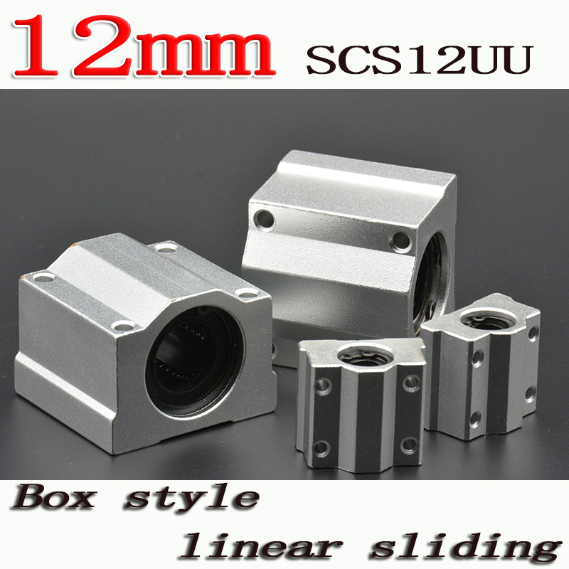 4pcs/lot SC12UU SCS12UU Linear Motion Ball Bearings Slide Block Bushing For 12mm Linear Shaft Guide Rail CNC Parts