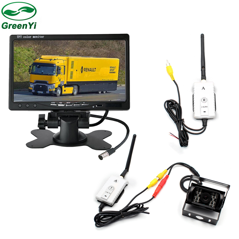 3in1 7 Inch Wireless Parking Monitor With Rear View Camera 2.4G Video Wireless Adapter Kit For Bus Truck Vehicle diysecur 4pin dc12v 24v 7 inch 4 split quad lcd screen display rear view video security monitor for car truck bus cctv camera