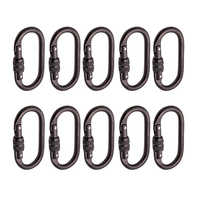 10pcs Rock Climbing 25KN Screw Locking Carabiner Hook for Outdoor Rappelling Rescue 110 x 60mm CE certified