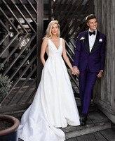 Simple Deep V Neck Satin Wedding Dresses 2019 A Line Garden Bride Dresses With Pockets Cheap Court Train vestido de festa longo
