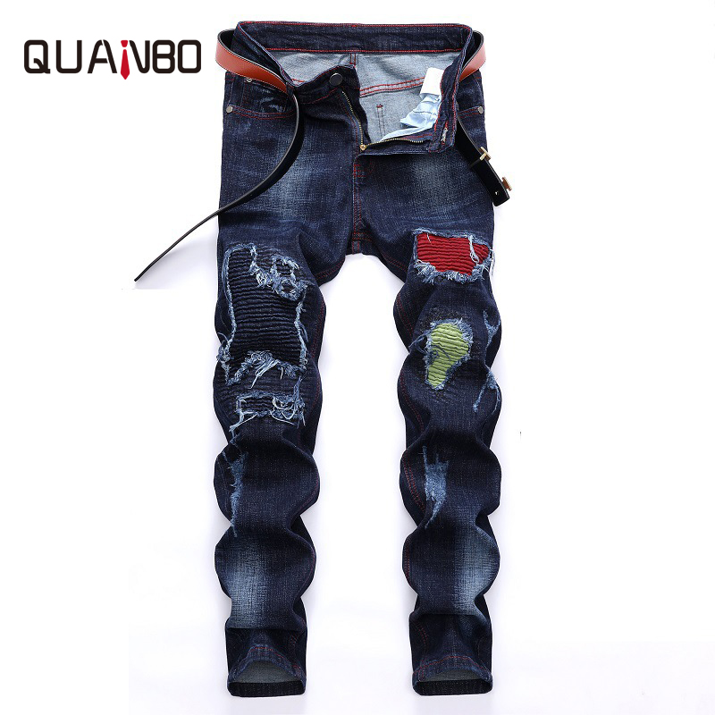 QUANBO 2018 New Arrival Autumn Winter Fashion Hole Stretch   Jeans   Men Long Denim Pants Fashion Patch Casual Trousers Plus size