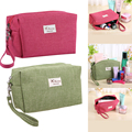 Portable Travel Cosmetics Bag Girl Makeup Pouch Toiletry Case Abrasive Cloth Makeup Organizer Bag Green Red