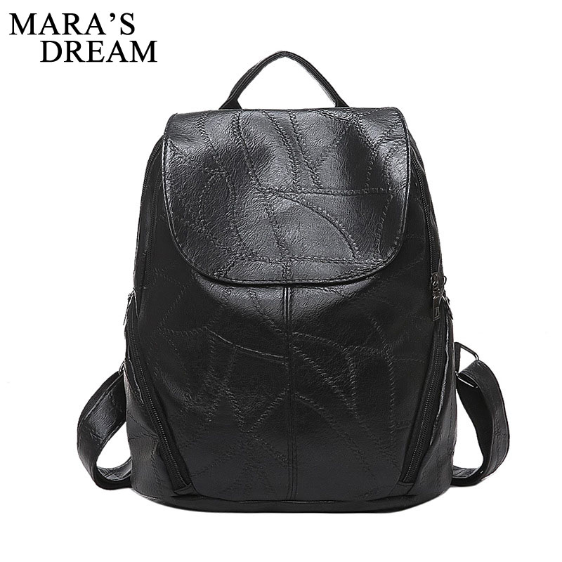 Mara's Dream PU Leather Women Backpack Laptop Women's Bag School Travel Bags For Teenage Girls Female Back Pack Mochila Knapsack pink print letter school backpack women school bag back pack leisure korean ladies knapsack laptop travel bags for teenage girls