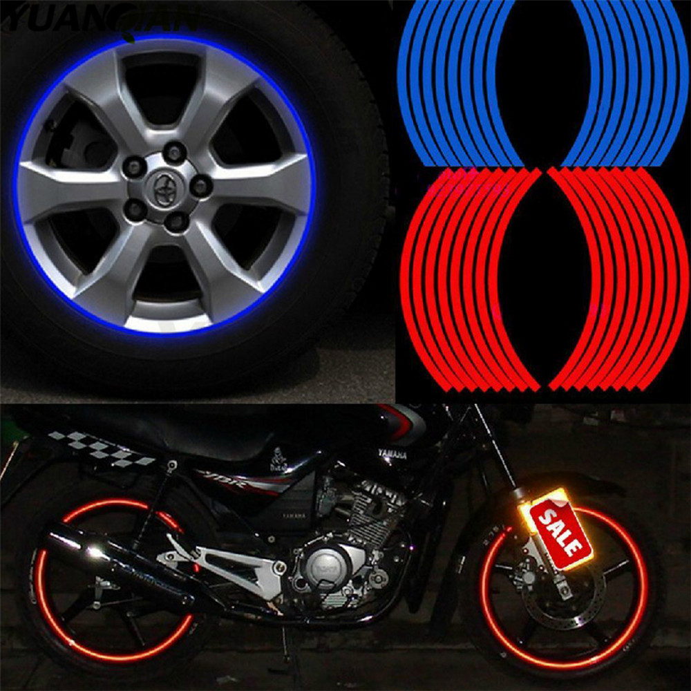 16 Strips Motorcycle Accessories 7 Colors Car Styling 17 or 18 inch Car Stickers Wheel Rim Sticker Reflective Tape Universal