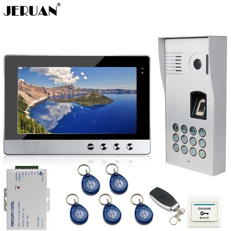 JERUAN 10 Inch Color LCD Video Door Phone Doorbell Intercom System Kit Metal Fingerprint Code Keypad RFID 120 Degree Camera