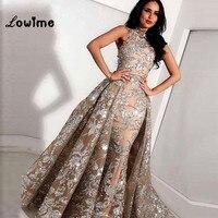 Muslim Evening Dresses Two Pieces Arabic Dress Elegant Turkish Kaftan Vestido De Festa Longo High Neck Flower Pattern Fabric