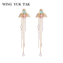 wing yuk tak Trendy Crystal Insect Bee Earrings Romantic Long Tassel Stud For Women Brand Jewelry Wholesale