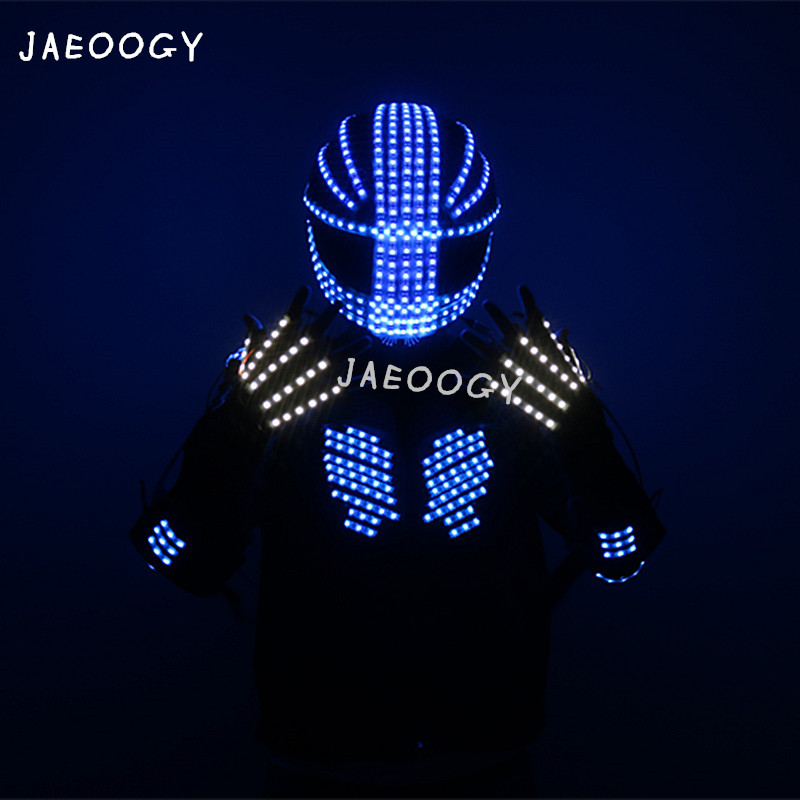 High quality LED illuminating robot color clothing bar nightclub stage performance fluorescent gloves lighting strobe helmet