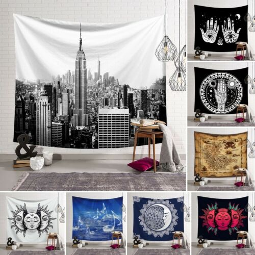 Art Tapestry Wall Hanging Polyester Mandala City Map Sun Moon Printing Classic Cool Stylish Pattern Blanket Tapestry Home Decor