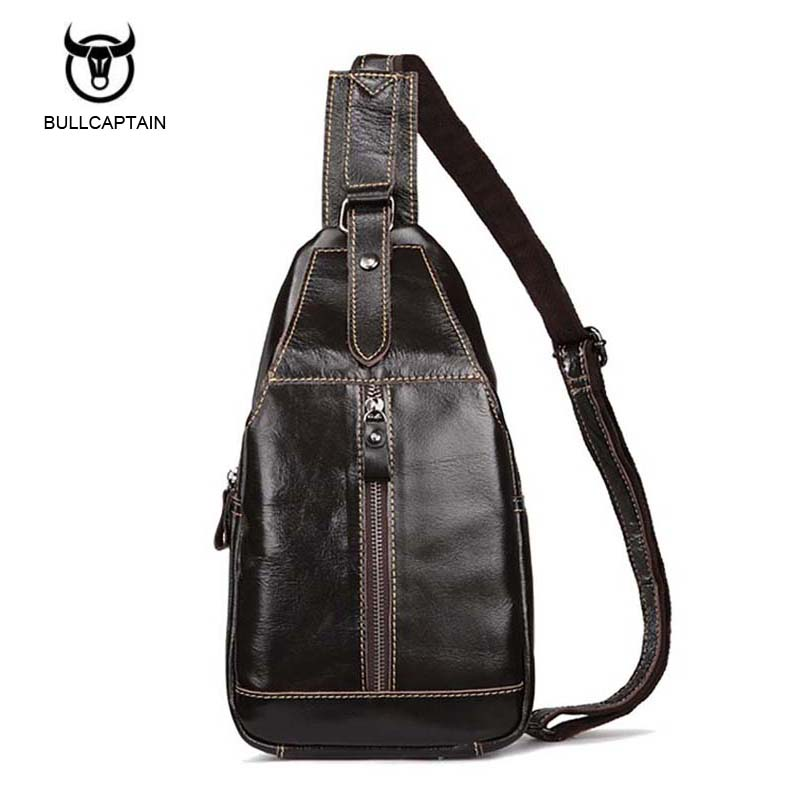 Bullcaptain Famous Brand Casual Coffee Chest Bag Men Messenger Bags Small Bags Travel Backbag CrossBody Shoulder bag for man