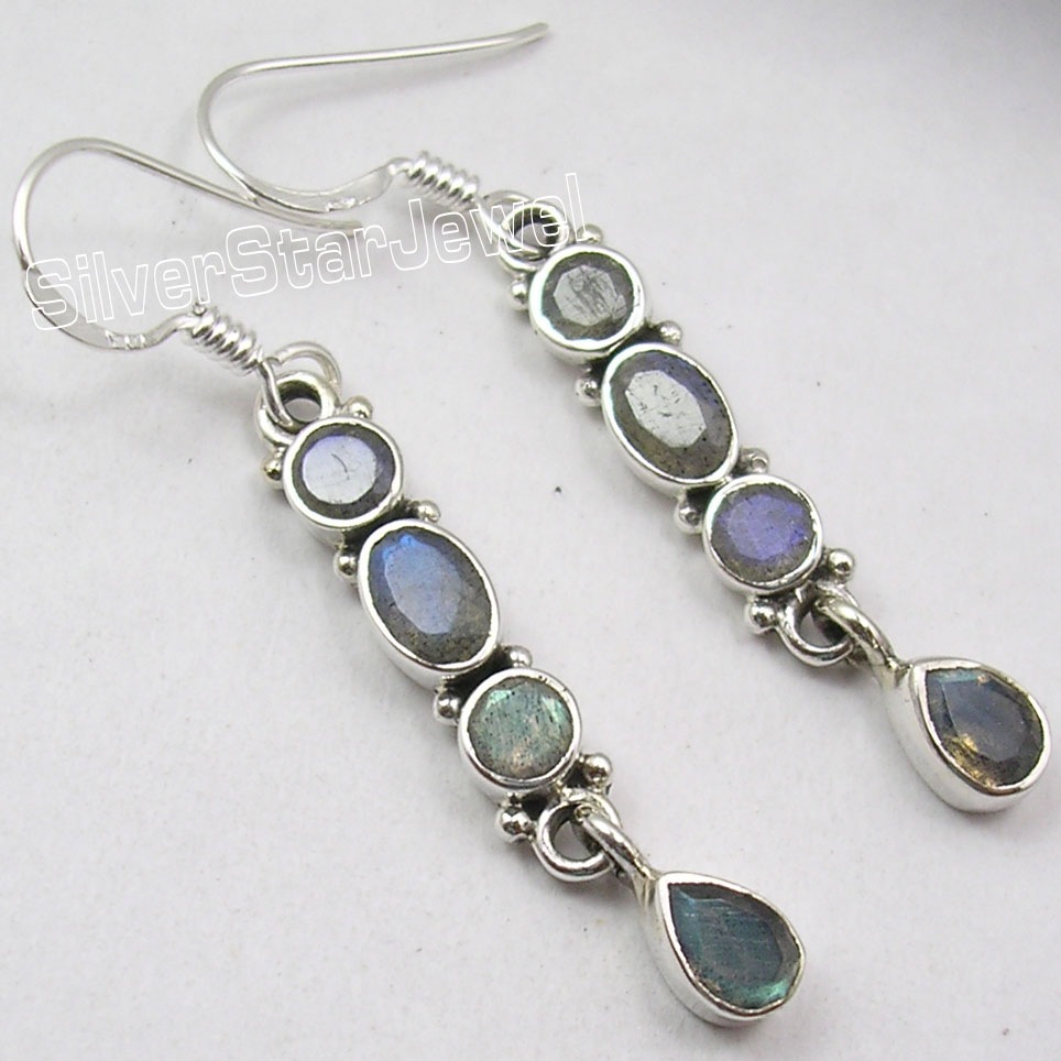 Chanti International PURE Silver GENUINE BLUE FIRE LABRADORITE 4 STONE ART LONG Earrings 4 7 CM