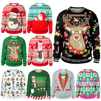 2018 Men Women 3D Ugly christmas sweater Vacation Santa Elf Funny Christmas Sweaters mujer Jumper Autumn Winter Tops Clothing