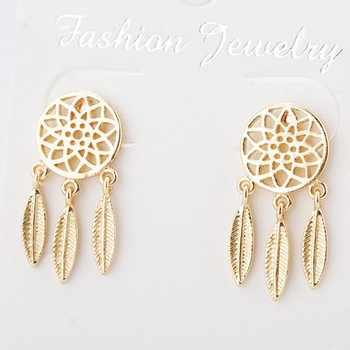 Retro New Fashion Jewelry Gold / Silver Hollow Tassel Feather Long Earrings Women India Bohemian Earrings Wholesale Sales