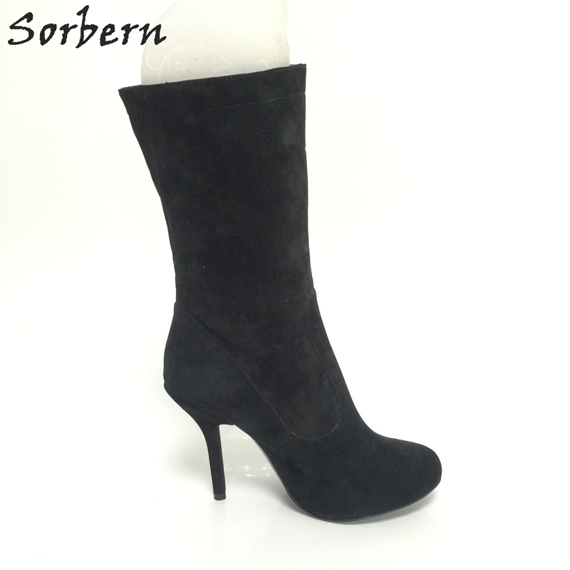 Sorbern Pointed Toe Boots Black Mid Calf Boots Women High Heel Shoes Ladies Size 11 Spring Women Shoes 2018 Custom Colors spring black coffee genuine leather boots women sexy shoes western round toe zipper mid calf soft heel 3cm solid size 36 39 38