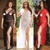 Women See Through Sex Nightgown Spaghetti Strap Chiffon Striped Sleepwear Long Nightgown Nightdress Night Dress Chemise