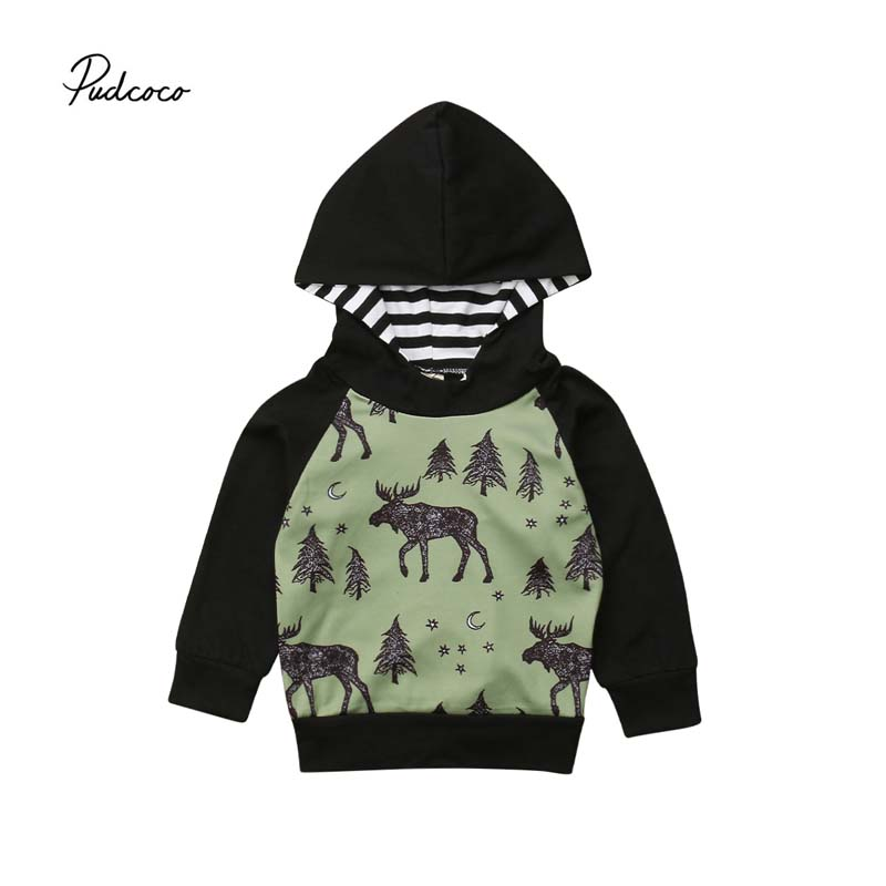 Pudcoco 2018 Baby Boy Infant Warm Sweatshirt Deer Print Long Sleeve Hooded Pullover hoodie Tops Autumn Cool Outfit Clothes 6M-4T letter print crew neck long sleeve men s pullover sweatshirt