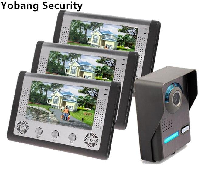 Yobang Security 7Color Video Door Phone Video Intercom Door Intercom Doorphone IR Night Vision Camera Doorbell Kit For Apartment