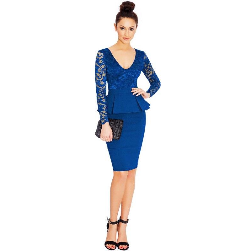 37a39b1a8694a إمرأة جديد وصول أنيقة الدانتيل الكامل الأكمام الخامس الرقبة مثير الأزياء  تمتد boydcon peplum مكتب سيدة اللباس الرسمي للعمل 200065. Click here to Buy  Now!!