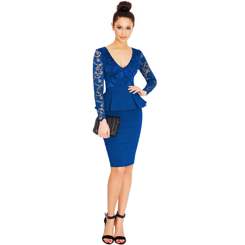 Detail Feedback Questions about Womens New Arrival Elegant Lace Full Sleeve V  Neck Sexy Fashion Stretch Boydcon Peplum Office Lady Formal Dress for Work  ... c89baf15be7b