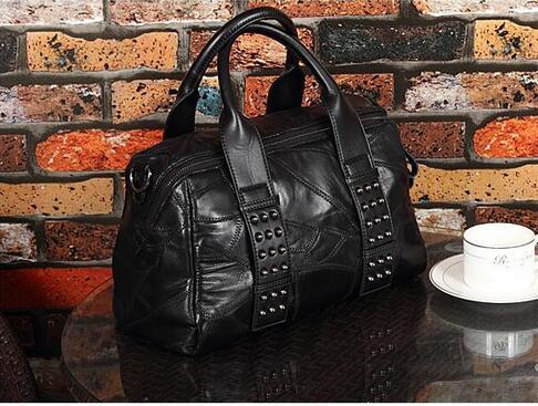 ФОТО Women's sheepskin patchwork Boston handbag genuine leather rivet tote bag lady one shoulder cross body bag