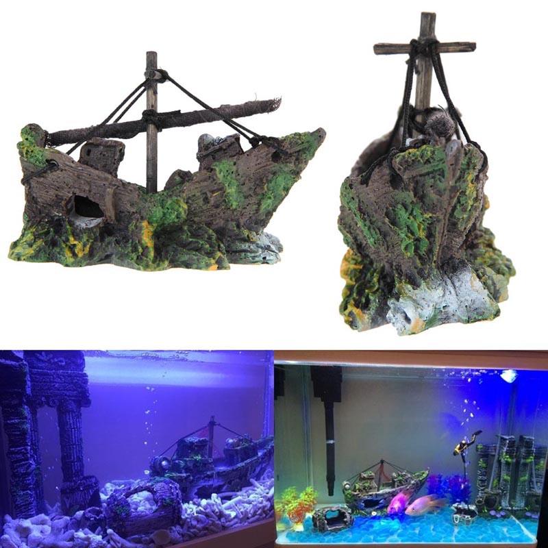fish tank decoration cave decor sailing boat shipwreck aquarium sunk ship free shipping ptspchina