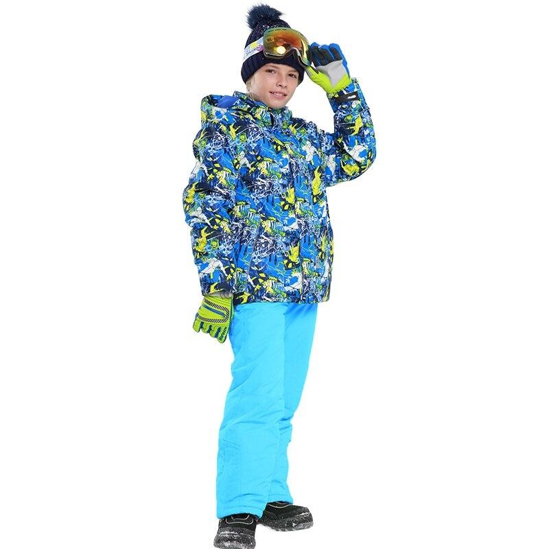-30 Windproof Winter Kids Girls Boys Ski Suit Set Children Outerwear Sport Winter Ski Suit Warm Coat Boys Jackets Kids Clothes hot winter beanie knit crochet ski hat plicate baggy oversized slouch unisex cap