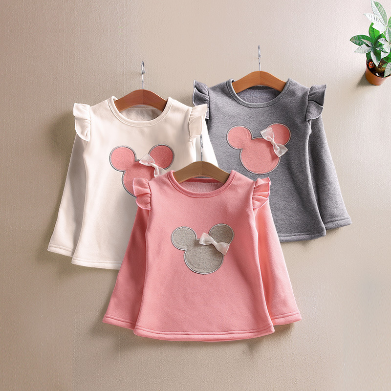 все цены на 2018 Spring Autumn Children Baby Girls Cartoon Mouse Long Sleeve Tops O-Neck Tiny Cotton Bottom Shirt Kids Casual Clothing Tops
