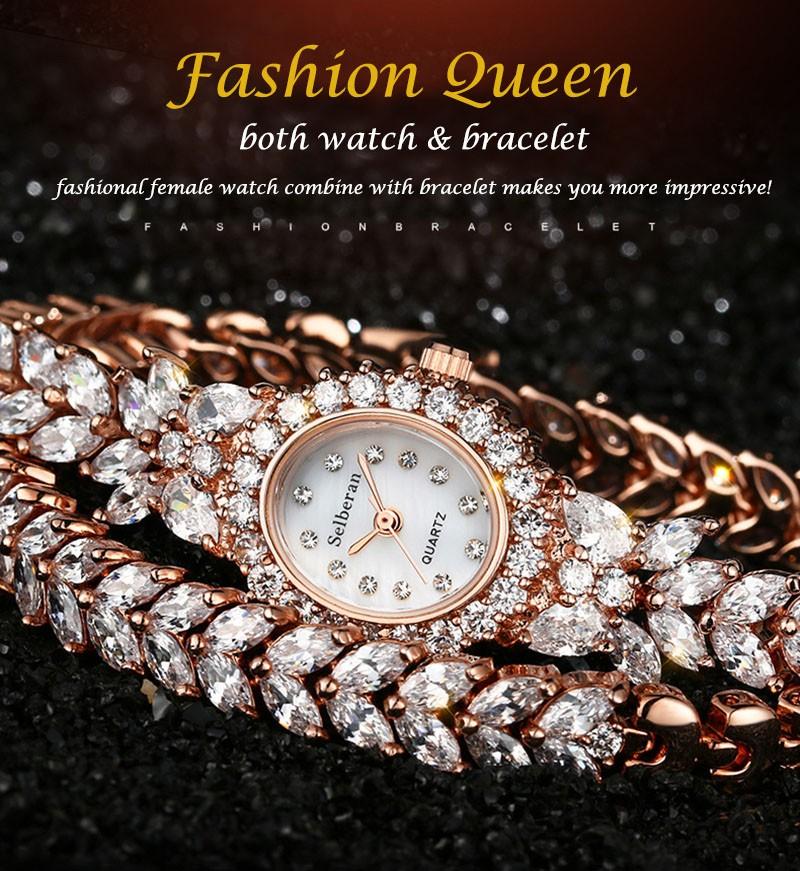 16 50M Waterproof Selberan Gold/Silver Natural Zircon Wrist Watch for Women Luxury Ladies Bracelet Watch Montre Femme Strass 1
