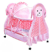 Cute Baby Cradle Bed with Mosquito Net, 2 in 1 Baby Crib, can be Infant Basket, Pink Baby Rocking Bed with 4 lockable wheels