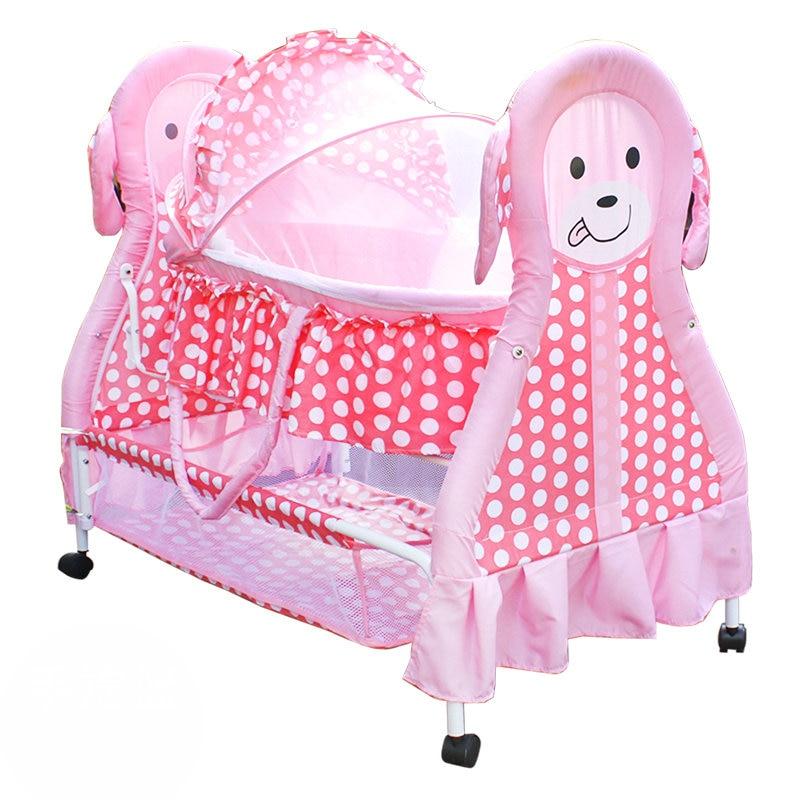 Lit de berceau bébé mignon avec moustiquaire, lit de bébé 2 en 1, peut être panier pour bébé, lit à bascule bébé rose avec 4 roues verrouillables