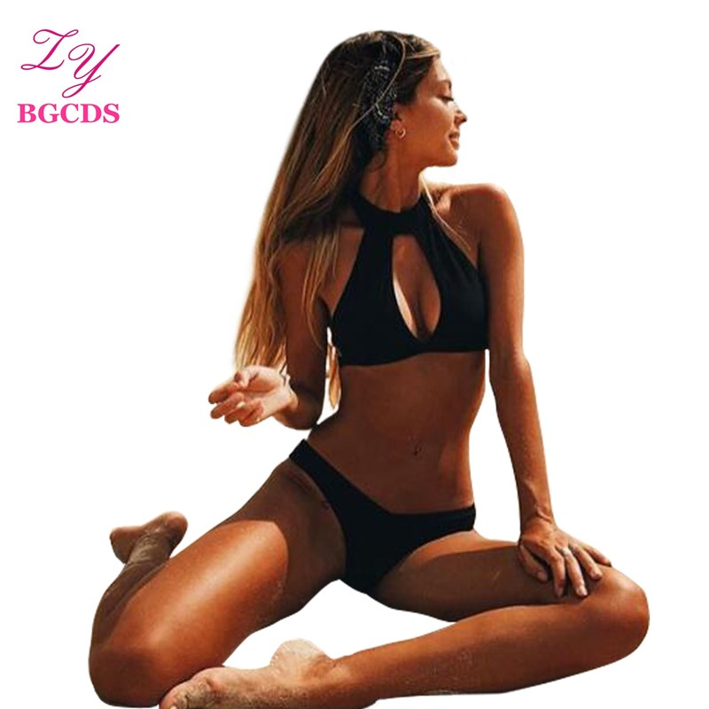 Swimwear High Neck Bikini Sexy Black Women Swimsuit Halter Bikini Set Summer Push Up Bathing Suit Female Thong Beach Wear 2018 women bikini set plus size swimwear swimsuit female beach wear push up stripe brazilian bikini high waisted bathing suit