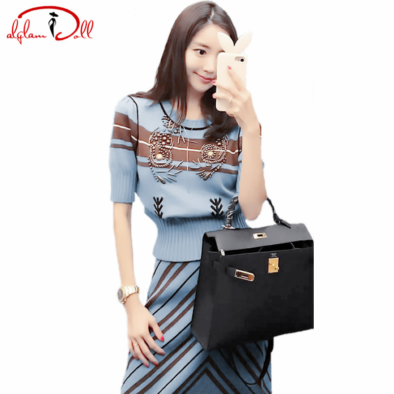 2017 Autumn Two Pieces Sets Beading Short Sleeve Top Sweater Pullover A Line Striped Skirt Women