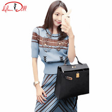 2017 Autumn Two Pieces Sets Beading Short Sleeve Top Sweater Pullover A-Line Striped Skirt Women Slim Casual Knitted Suit Dress
