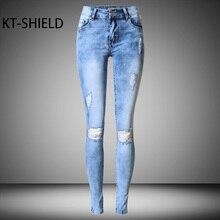skinny women pencil jeans casual Holes ripped Fashion Design Solid color boyfriend Denim pants Female Cotton Jeggings Leggings