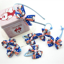 Navy Style Fashion Cartoon Prints Children Elastic Hair Bands Girl Hairpins Bow Hairbands Headwear Girls Apparel Accessories