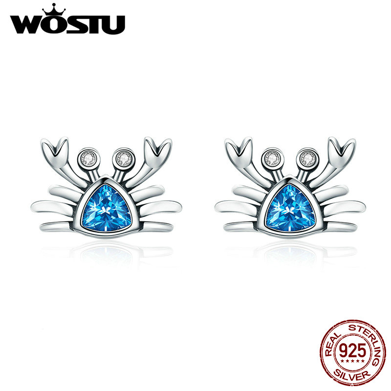 WOSTU 2019 Pure 925 Sterling Silver Lovely Crab Stud Earrings Women Blue Cubic Zircon Stone Unique S925 Jewelry Girl Gift CQE413