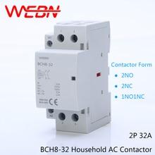 BCH8-32 Series 2P 32A Automatical AC Household Contactor 220V/230V 50/60Hz Contact 2NO/1NO+1NC/2NC Din Rail Modular Contactor цена