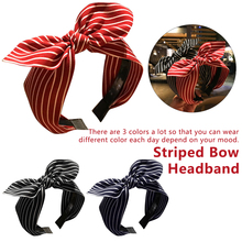 Bow Headbands Women Top Knot Bow Adult Headband Hairband Striped Fabric Bow Headband for Girls Teen Hair Accessories Adult Hoop girls bow decorated headband