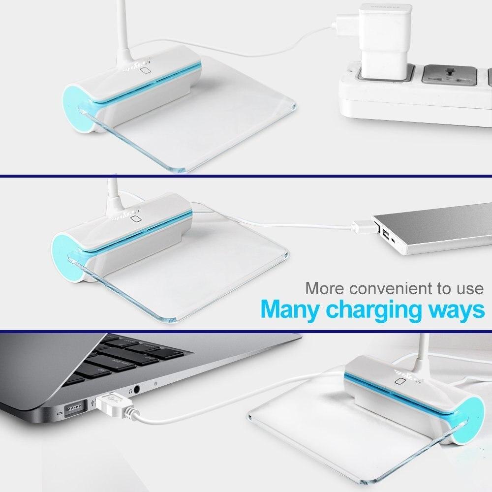 Aimbinet настольная лампа, USB лампа walkas лампа с Доски для записей Перезаряжаемые touch 3-режим brightnes Сенсор-сине-зеленый Яркость