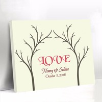 Canvas Guest Book for Wedding Pink Love Fingerprint Tree Guest Book Baby Shower Signature Name Guest Book Party Decorations