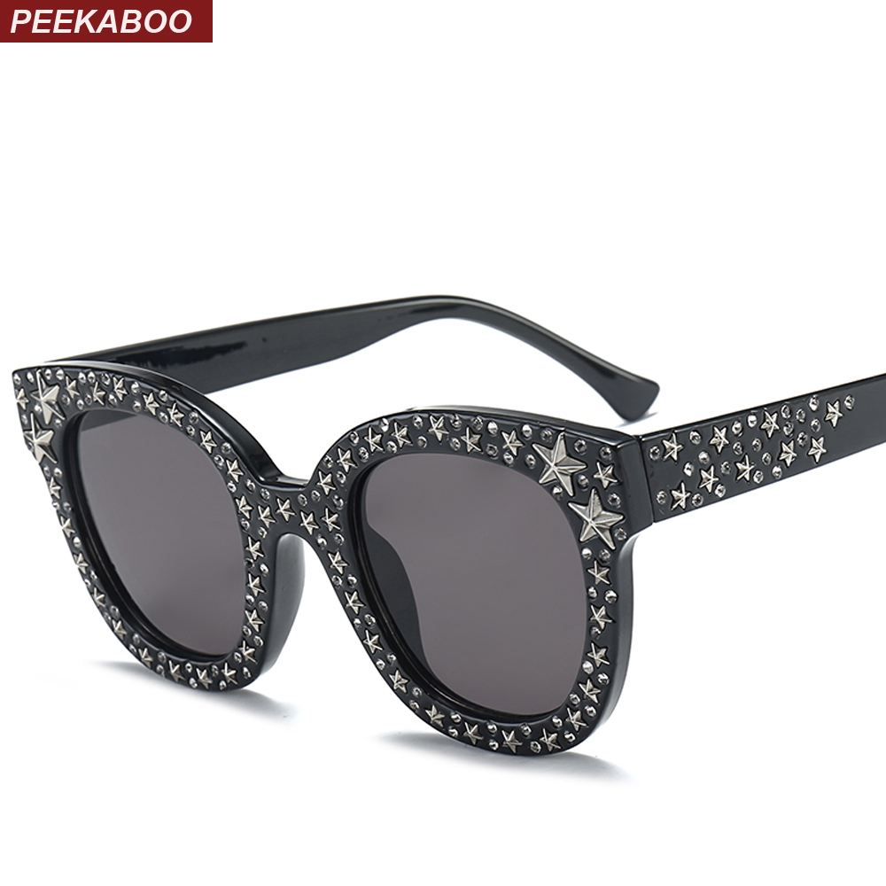 Peekaboo pink rhinestone <font><b>sunglasses</b></font> star men unisex <font><b>brown</b></font> white big designer black shades for women female uv400