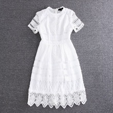 High Quality New 2017 Summer Dress Women O-Neck Hollow Out Crochet Lace Embroidery Short Sleeve Sweetheart Dress Princess Gifts