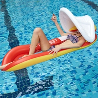 Inflatable Sunshade Floating Bed PVC Collapsible Recliner Water Hammock Swimming Pool Floating Row For Adults Kids 160x90cm