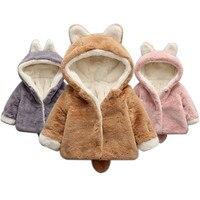 Imshie طفل صبي فتاة الشتاء معطف لطيف أفخم سميكة معطف الأرنب الأذن الذيل مقنعين ملابس خارجية