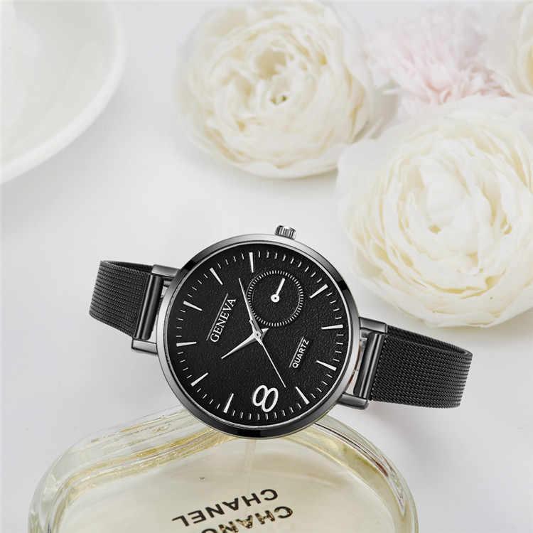 Женские часы GENEVA Модные кварцевые наручные часы из нержавеющей стали relogio feminino раскошный ремешок для часов розовое золото dames horloge