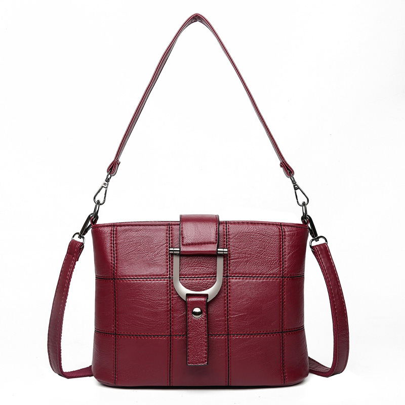 Women Quality Leather Plaid Pattern Handbag  1