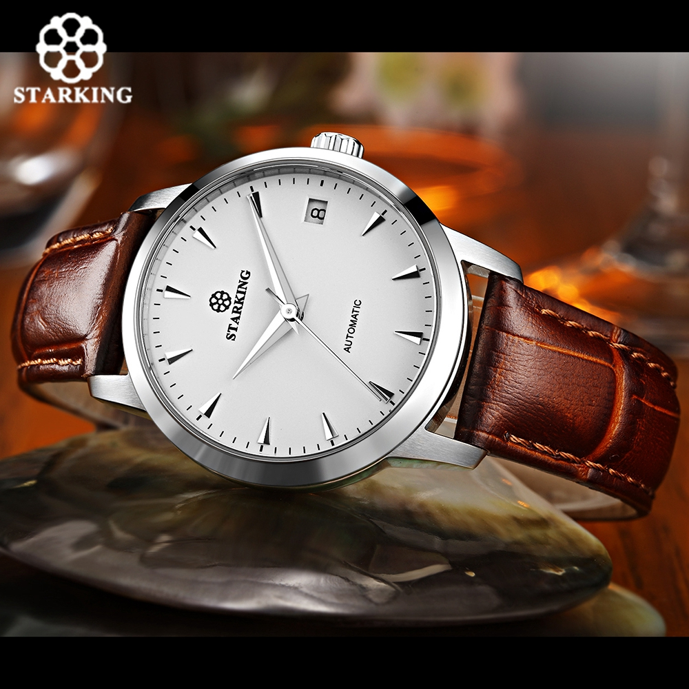 STARKING Automatic Men's Watches Business Calfskin Leather Watch Band Wrist Watch Stainless Steel Casual 50M Waterproof Male стоимость