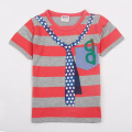 boys clothes nova kids children striped summer short sleeves boys t shirt with lovely stars necktie printed bobo choses C6243